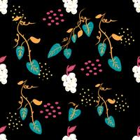 Teste padrão floral ditsy sem emenda com as flores coloridas brilhantes e as folhas no fundo preto no estilo popular ingênuo. Modelo de verão para impressões de moda em vetor.