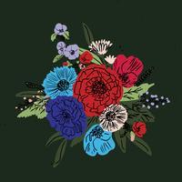vetor de conjunto floral mão desenhada