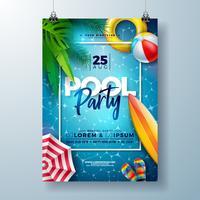 O molde do projeto do cartaz da festa na piscina do verão com folhas de palmeira, água, bola de praia e flutua no fundo azul da paisagem do oceano.