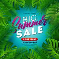 Projeto da venda do verão com folhas de palmeira tropicais no fundo azul. Oferta especial de ilustração vetorial com elementos de férias de verão para cupom