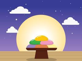 Chuseok ou Hangawi (dia de ação de graças coreano) - bolo de arroz coreano (songpyeon) vetor