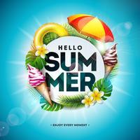 Vector a ilustração das férias de verão com flor e folhas de palmeira tropicais no fundo do azul de oceano. Carta de tipografia, colete salva-vidas, bola de praia e prancha de surf na Paradise Island