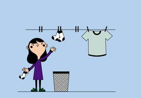Mulher livre pendurando roupas vector