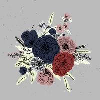 conjunto de buquê floral mão desenhada vector