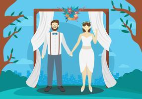 Casal de noivos caracteres ilustração vetorial ao ar livre vetor