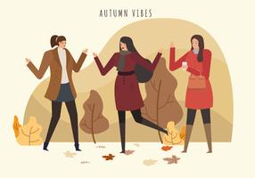 Moda Outono Mulher Outfits Vector Illustration