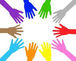 Vector a ilustração das mãos coloridas dos povos dos trabalhos de equipa no fundo branco