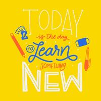 Letras coloridas sobre aprendizagem e educação com material escolar vetor