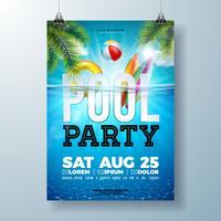 O molde do projeto do cartaz da festa na piscina do verão com folhas de palmeira, água, bola de praia e flutua no fundo azul da paisagem do oceano. Vector feriado ilustração