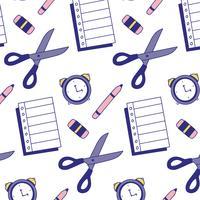 Bom padrão escolar com folha de papel, lápis, borracha, relógio e tesoura vetor