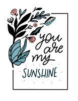 Lettering bonito das citações com flores e folhas