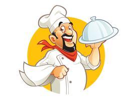 Caricatura, sorrindo, cozinheiro, personagem vetor
