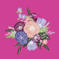 Simples e divertido padrão Floral. Textura sem emenda de vetor com flores e bolinhas. Floresce o fundo no estilo ingênuo do vintage.