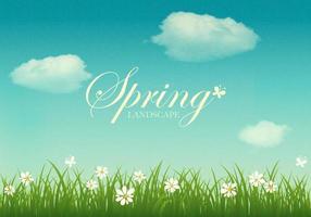 Fundo de vetor de paisagem de primavera com textura