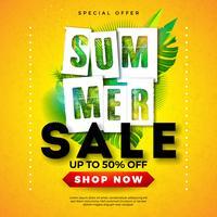 Projeto da venda do verão com folhas de palmeira tropicais e letra da tipografia no fundo amarelo. Ilustração vetorial de férias para oferta especial