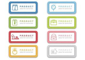 Vetores de etiqueta de tecido costurado