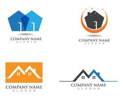 Design de logotipo imobiliário, propriedade e construção para sinal corporativo de negócios vetor