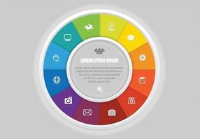 Roda colorida vetor com ícones