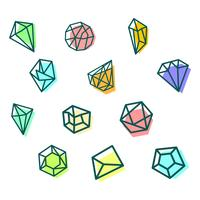 pedra, diamante, modelo de logotipo de gema, elementos isolados de ícone vetor