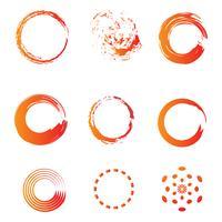 círculo escova água cor ícone modelo vector ilustração
