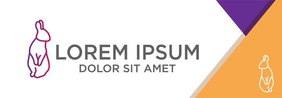 modelo de logotipo de coelho com o conceito de design plano com ilustração vetorial de fundo abstrato, uso pronto para banner, página de destino, folheto.