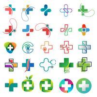coleção de logotipo de saúde design conceito ilustração em vetor