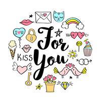 Para você lettering com doodles femininos para design de cartão de dia dos namorados, impressão de t-shirt da menina, cartazes. Mão desenhada fantasia slogan no estilo cartoon. vetor