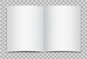 O vetor abriu o caderno esquadrado realístico da escola primária com as margens vermelhas no fundo transparente. Maquete ou modelo de páginas abertas em gráficos de caderno ou caderno com grampos.