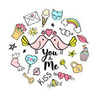 Você e eu letras com doodles femininos para design de cartão de dia dos namorados, impressão de t-shirt da menina, cartazes. Entregue o slogan cômico extravagante tirado no estilo dos desenhos animados. vetor