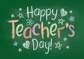 Feliz dia dos professores cartão ou cartaz no quadro de giz verde no estilo esboçado com estrelas handdrawn e corações.