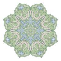 Mandala de vetor. Elemento decorativo Oriental. Islã, árabe, indiano, turco, paquistão, chinês, motivos otomanos. Elementos de design étnico. Mandala desenhada de mão. Símbolo colorido da mandala para o projeto do yor