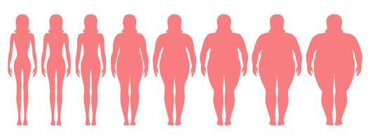 Vector a ilustração de silhuetas da mulher com peso diferente da anorexia a extremamente obeso. Índice de massa corporal, conceito de perda de peso.