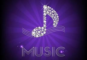 Diamante música nota fundo vector