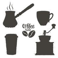 Conjunto de objetos de café vintage. Silhuetas de xícaras de café, moedor, pote com logotipo de feijão e letras. Coleção de hora do café.