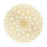 Ornamento de Mandala de contorno dourado de vetor. Elementos decorativos vintage. Padrão redondo Oriental. Islã, árabe, indiano, turco, paquistão, chinês, motivos otomanos. Fundo floral desenhado de mão.