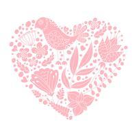 Pássaro de Doodle e elementos florais em forma de coração vetor