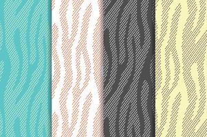 Padrões de vetores sem costura conjunto com zebra, listras de tigre. Matéria têxtil que repete fundos animais da pele. Meio-tom listras infinitas origens. Estampas de animais abstratas.