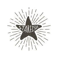 Monocromático mão desenhada rótulo vintage, distintivo retrô com silhueta texturizada de estrela do mar. vetor