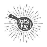 Pan silhoutte com rotulação - cozinhar diversão - e raios de sol vintage. Bom para cozinhar logotipos, bades ou cartazes.