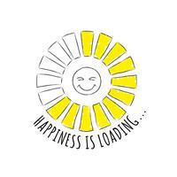 Barra de progresso redondo com inscrição - carregamento de felicidade e cara feliz em estilo esboçado. ilustração para design de t-shirt, cartaz ou cartão. vetor