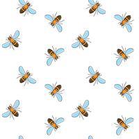 Padrão sem emenda de vetor de abelha para design têxtil, papel de parede, papel de embrulho