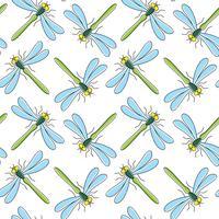 Padrão sem emenda de vetor de libélula para design têxtil, papel de parede, papel de embrulho