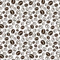 Padrão sem emenda de vetor com grãos de café handrawn. Repetindo o fundo dos feijões de café para o papel de envolvimento, pacote, scrapbooking, projeto de matéria têxtil.