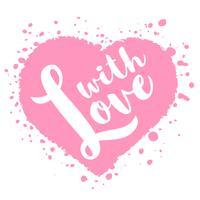 Cartão de dia dos namorados com mão desenhada lettering - com amor - e forma de coração abstrato. Ilustração romântica para folhetos, cartazes, convites de férias, cartões, estampas de t-shirt.