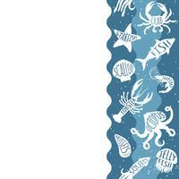 Padrão de repetição vertical com produtos de frutos do mar. Banner sem emenda de frutos do mar com animais debaixo d'água. Projeto da telha para o menu do restaurante, a indústria alimentar de peixes ou a loja do mercado.