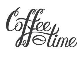 Mão desenhada rotulando a hora do café. Inscrição decorativa do vetor café tempo para cartaz, logotipo. Caligrafia moderna ousada. Mão escrita cartas de tinta.