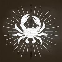 Silhoutte do giz do caranguejo com raios do sol no quadro-negro. Bom para design de menu de restaurante de frutos do mar, decoração, logotipos ou cartazes.