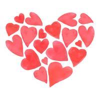 Aquarela feliz design de corações de dia dos namorados. vetor