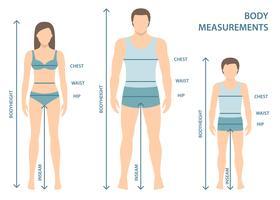Vector a ilustração do homem, das mulheres e do menino no comprimento completo com linhas da medida de parâmetros do corpo. Medidas de homem, mulher e criança. Medidas e proporções do corpo humano. Design plano.