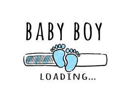 Barra de progresso com inscrição - bebê menino carregando e garoto pegadas no estilo esboçado.